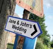 Wedding  Blue Personalised Direction Arrow -  Metal Wall Sign
